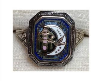 Art Deco 10k White Gold Rebekah Ring
