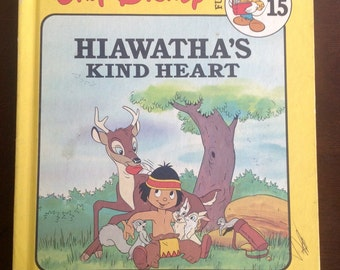 Vintage Disney Children's Book, Hiawatha's Kind Heart, Easy Reader, Beginner Reader, Nursery Decor, Disney Scrapbook Paper, Craft Supplies