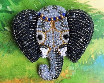Beaded brooch animal jewelry elephant brooch lucky jewelry gift for luck african jewelry native brooch mascot jewelry statement jewelry
