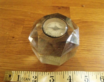 Vintage Compass Glass Paperweight