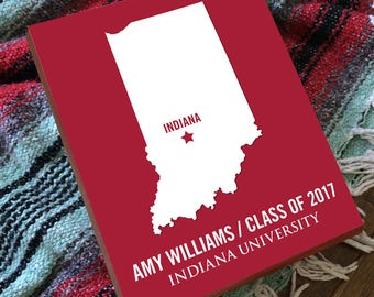Indiana University - Indiana Hoosiers - Indiana Map - IU Hoosiers - College Graduation Gift