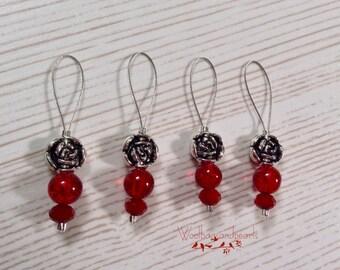 4 Maschenmarkierer 'Kleine Rose', Stitchmarker