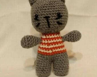 Crochet Boy Kitten in a Striped Tshirt Amigurumi
