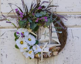 Nautical Wreath, Summer Wreath, Beach House Wreath, Beach House Decor, Coastal Wreath, Nautical Decor, Sailing Wreath, Sailboat Wreath