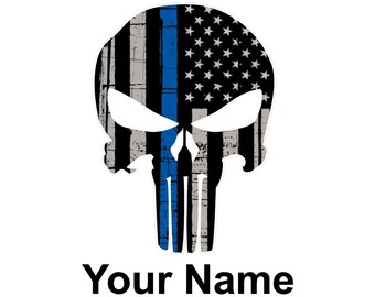 Thin Blue Line Punisher Decal with Name- Custom Decal- Yeti Decal- Tumbler Decal
