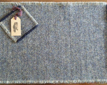 Harris Tweed Placemats and Coasters, Blue-Grey Herringbone, Set of 2