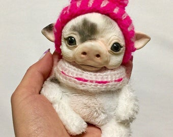 Pig Piggy Handmade Pet Doll Toy Animal Art