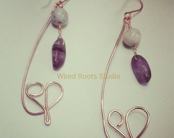 Amazonite and amethyst abstract copper heart dangle earrings, pure copper heart earrings, copper and gemstone earrings, gifts for her