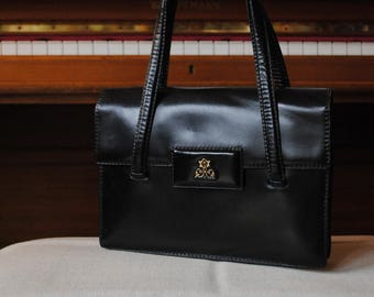 Handbag leather hand-stitched black Jean Pax -