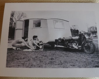 Vintage Caravan & Motorcycle.circa1930s. Handmade blank greetings card
