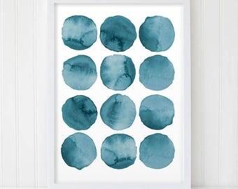 Abstract Watercolor. Blue Abstract. Blue Watercolor. Abstract Circles. Modern Art. Blue Wall Art. Modern Print. Navy Art. Watercolor Poster.