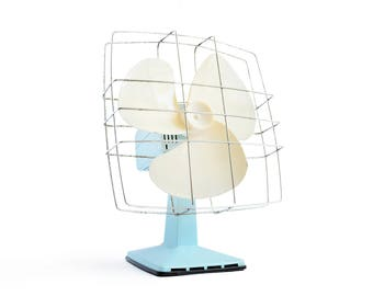 """1970 Vintage """"Calor"""" Electric Fan in Mint Blue made in France"""