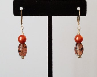 Coral Pearl and Brown Bead Earrings