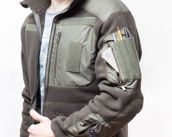 "Fleece Jacket military ""BEAR"" tactical Olive, Black, Base"