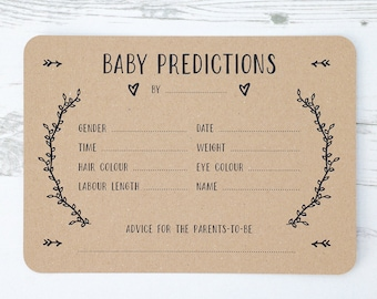 SUMMER SALE - Baby Prediction Cards - x10 - Recycled Kraft Card - Baby Shower Games