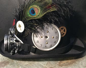 Steampunk Black Top Hat, Cyber Punk, Retro Spikey Goggles, Leather Stripe With Laced Up Ribbon, Clock Face Cogs, Badge And Ostrich Feathers