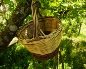 Handmade, strong all natural, brown willow and bamboo basket with handle,fruit picking basket.