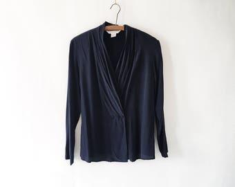Vintage Womens Navy Blue 90s Silk Blouse - Gathered Silk Wrap Top
