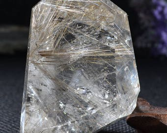 "2.75""Natural Clear Sliver Rutilated Quartz Point/Rare White Tourmaline  Rutilated Crystal Tower-70*45*40mm 156g"