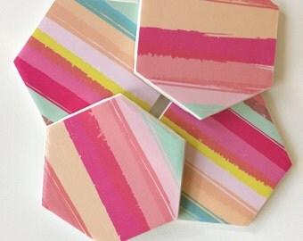Rainbow Coasters, Coasters, Decorative Coasters, Set of 4 Coasters, Tile Coasters, Drink Coasters, Ceramic Coasters, Rainbow Decor