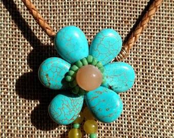 Turquoise Poppy Beaded Necklace