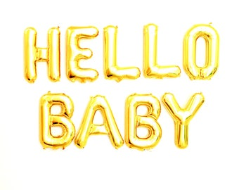 "HELLO BABY Gold Foil Letter Balloon Banner - Gold Foil Balloon Letters Combo  (16""/41cm)"