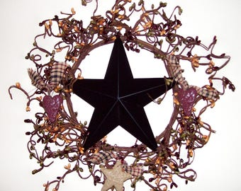 "Primitive Country~Black Barn Tin Star & Heart Wreath 12"" pip berries burgundy mustard"