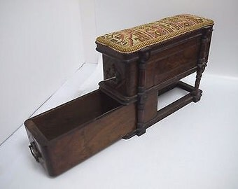 Unusual Antique Victorian Hobby/Sewing/Trinket box - 2 Drawers Sliding on Guides