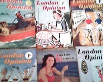 Vintage London Opinion Comic Magazines x6 - Full of Humour and Fun - 1940s and 1950s