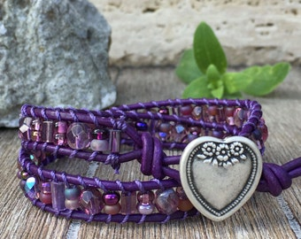 Double Wrap Leather Bracelet Purple Love