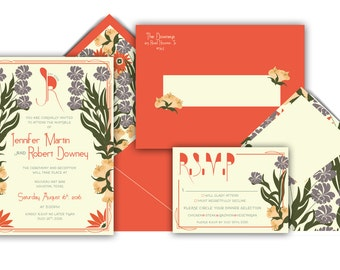 Art Nouveau Wedding Invitation Suite