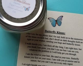 Butterfly Kisses Organic Coconut Oil Candle and Poem, All Natural, Nontoxic, Paraffin, Petroleum, Chemical and Dye Free, 8oz Mason Jar