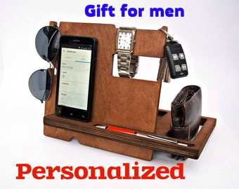 Fathers Day  Gifts for Him  Father gift  Mens Gift Ideas Personalized Gift for Dad  Gifts for Men Wood Docking Station