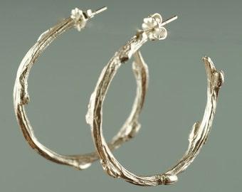 Willow Earring, Twig Silver Hoop Earrings, Twig Jewelry,  Willow Branch Earring Silver, Branch Earrings, Twig Earring, Silver Dangle Earring