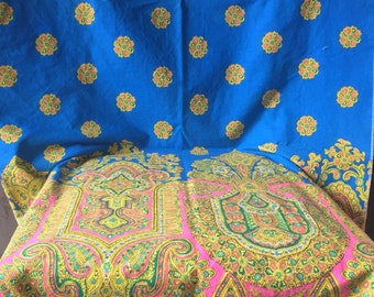 Vintage Fabric Vibrant Indian Design, Turquoise Blue Yellow Pink, Green, 70's Boho Hippie, Pre-washed cotton