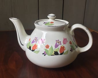 Vintage Hall Teapot Crocus Pattern, Cream and Floral, Retro Vintage Kitchen Decor, 1930s