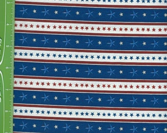 USA,Home of the Brave,Stars Stripe White/ Blue,Quilting treasures