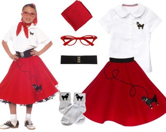 6 Pc LARGE Child 10 12 50s Poodle Skirt OUTFIT