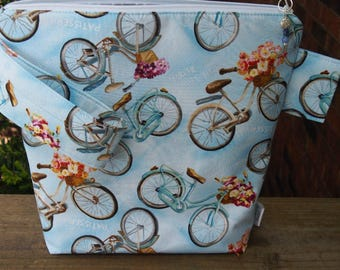 Paris Bicycle Zippered Pouch Knitting Project Bag with pockets