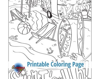 Surfs Up Adult Coloring Page Beach Seaside Tropical Surf Boards