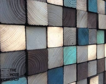 Coloured Solid Wood Block Art