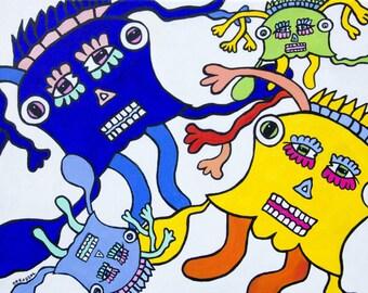 "Outsider art, free figuration, art brut. ""Incantation"" original painting Neko92vl"