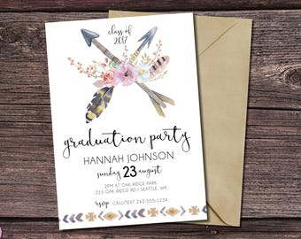 Graduation Party Invitation | Class of 2017 | Graduation Card | Graduation Invitation | Bohemian | Tribal