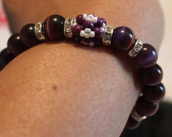 Beautiful dark purple &white-beaded bracelet; shamballa, handmade, beadweaving, cute, casual wear, party wear