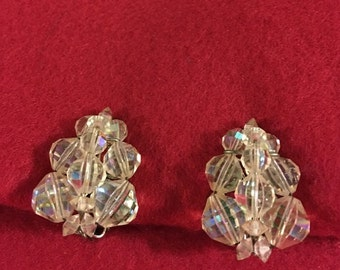 Aurora Crystal Clip Earrings
