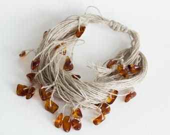 Natural Wrap Drop Dangle Linen Bracelet with Baltic Amber