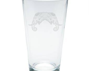 Tribal Mosaic Elephant Etched Pint Glass