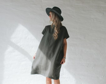 LINEN dress simple OVERSIZED gray LOOSE tunic grey dress