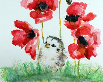 Baby Chick with Poppies Digital Download