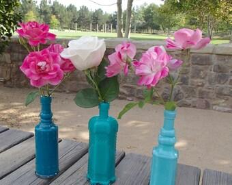 """Vintage Inspired """"Shades of the Caribbean"""" Bud Vases/ Bottle Vases - 3 Bottles in a Set"""